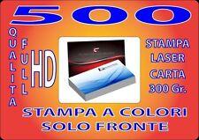 500 BIGLIETTI DA VISITA A COLORI 300GR STAMPA FRONTE QUALITA' FULL HD
