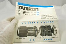 Tamron 70-210mm f3.8, 28-70mm f3.5 Owner's Manual adaptall guide