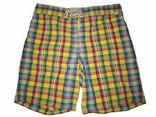 Polo Ralph Lauren Yellow Green Check Plaid Board Swim Suit Surf Shorts Large