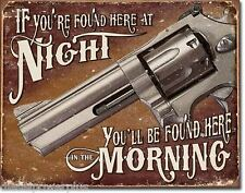 Vintage Replica Tin Metal Sign colt revolver pistol gun no trespass warning 1951