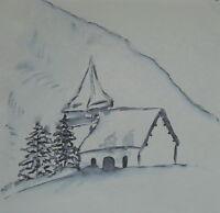Aquarell Gemälde - Winterlandschaft Natur Kapelle - Kunstwerk Bild Malerei