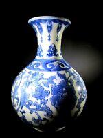 """Vintage Blue & White Floral Globe Porcelain Decorative Vase Signed 121/2"""" Tall"""