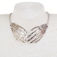 Vintage Frauen Charme Schädel Skelett Hand Statement Halskette Antik Silber