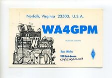 Norfolk VA 1976 postcard, person hidden, radio equipment, Buzz Miklos, WA4GPM