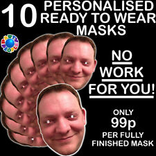 30 Personalised Party Face Masks Pre-Cut Ready To Wear