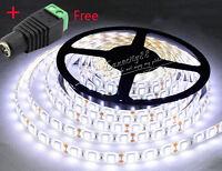 5M 5050 SMD Cool White 300 LED Flexible Tape Light Strip Lamp 12V + Free DC