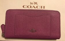 NWT Authentic Coach Crossgrain Leather Accordion Zip Wallet In Hyacinth F54007