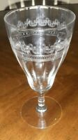 Vintage Clear Wine Glasses Scrolled Etching Ribbed Set of 4
