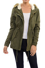 Womens Faux Fur Hoodie Sherpa Lined Military Safari Utility Fashion Parka Jacket