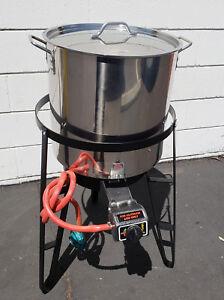 Propane Gas Burner & Stand  52 qt Stainless Steel Kettle Beer Brew Steamer Pot