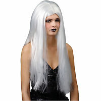 CLASSIC LONG SILVER  WIG HALLOWEEN FANCY DRESS UP COSTUME ACCESSORY