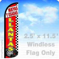2.5x11.5 WINDLESS Swooper Feather Flag Banner Sign - NUEVAS Y USADAS LLANTAS rz