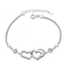 Silver Swarovski Element Crystal Zirconia Heart Link Bracelet Chain Gift Box B10