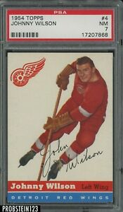 1954 Topps Hockey #4 Johnny Wilson Detroit Red Wings PSA 7 NM