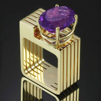 Unique Geometry Round Cut Amethyst Ring 18k Gold Fashion Womens Party Jewelry