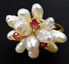 Vintage Baroque Shaped Pearls with Rubies 14K Gold Ruby Ring sz 6.25