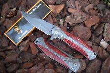 """CB-051 Couteau """"BROWNING"""" Massif Lame Acier 9,5 cm Manche Acier Damas/Résine"""