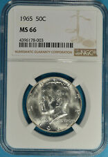 1965 Kennedy Half Dollar NGC MS66- Exceptional Luster, Sharp, White Gem