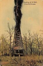 Chanute Kansas~Shooting Oil Well~Rickety Rig in Woods~1911 Postcard