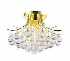 "3-Light Gold Finish W 16"" x H 12"" Empire Crystal  Ball Flush Mount Ceiling Light"
