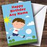 Cute Football Fan Player Personalised Birthday Greetings Card