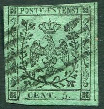 ITALY (MODENA)-1852 Second Setting 5c on Green Sg 9 FINE USED V21034