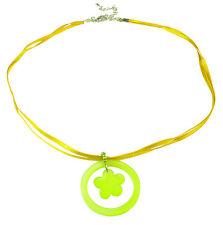 Ladies Golden Rod Cinta Collar Playful Trébol Verde Flor Colgante (Zx2)