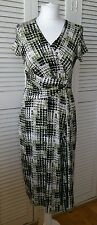 PHASE EIGHT Geometric Front Twist Ruched Wrap Dress UK 14 Wedding Occasion Races