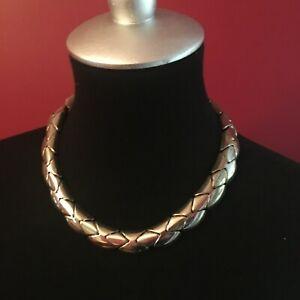 "18"" Collar Choker Necklace Mod Modernist Segmented Silverplated Metal Estate"