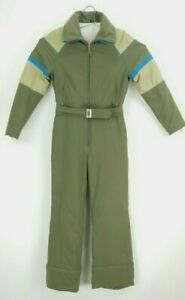 Vintage Bogner Women's 10 Ski Snow Suit Zip Off Jacket Pant Green Retro