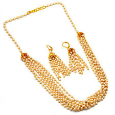 Chain Necklace One Gram Gold Pearl Polki Mala Gemstones Jewelry 7421