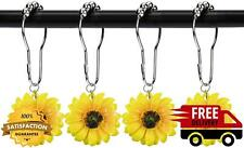 Yellow Sunflower Shower Curtain Rings Hooks Decorative Home Bathroom Stainless
