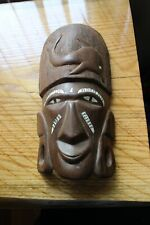 HAND MADE WOOD CARVED WALL MASK W/ DOLPHIN TRIBAL ART HOME DECOR