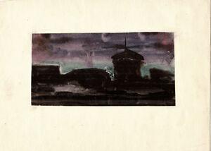 NIGHT watercolor drawing by Soviet artist V.Agafonov
