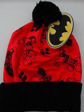 Harley Quinn Logo Batman Dc Comics Pom Knit Cuff Beanie Hat Nwt