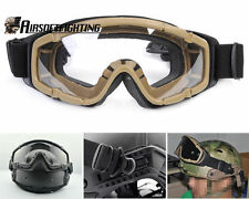Military Tactical 2pcs of Lens Goggle Glasses for Helmet with Side Rail TAN