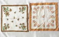 2 Vintage Floral Border Print Handkerchiefs •Cotton Hanky Set Ivory w/ Flowers