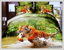 100% Cotton Tiger Tree Orange Green QUEEN QUILT DOONA COVER 2 PILLOWCASES 400TC