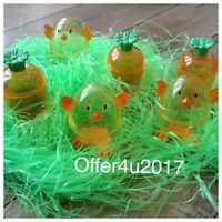 Carrot and Chick Plastic Shaped Fillable Easter Egg Containers Eggs 6pc