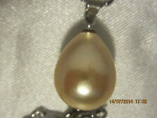Pendant - Champagne Coloured Shell Pearl Teardrop on 18K White Gold Plated Chain