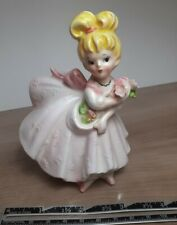 Lefton's Vintage Collectible Figurine #2383 ~ Girl with Flowers.