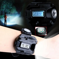 Tactical Rechargeable LED Wrist Watch Flashlight Torch Light w/ Compass