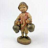 "Vintage ANRI Juan Ferrandiz SWISS BOY with Bells Hand Carved Figurine Italy 4"""