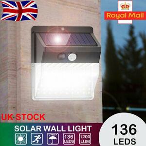 136 LEDs Solar Light 3 Modes Motion Sensor Outdoor Garden Pathway Security Light