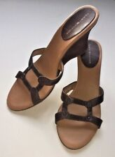 TOMMY HILFIGER Brown Leather Wedge Slides Sandals Ladies 39 Women's Size 8.5 I