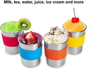 4 x 8 oz Stainless Steel Cups for Kids & Toddlers Stainless Steel Sippy Cups