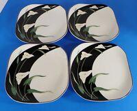 Sango Quadrille BLACK LILIES Square Salad Plate (s) LOT OF 4