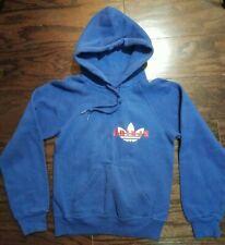RARE Adidas Raglan Ultimate Hoodie Hooded Sweatshirt Youth Medium Blue Vintage