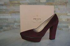 luxus Prada Gr 38,5 Pumps Plateau High Heels Schuhe bordeaux rot neu UVP 590€