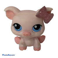 💕 Littlest Pet Shop LPS #87 Pink Pig Blue Eyes Rhinestone bow EUC F3